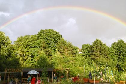 Regenbogen im Gemeinschaftsgarten Lindenhof